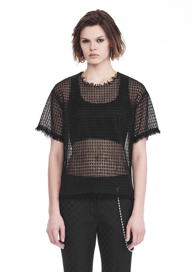 ALEXANDER WANG TOPS Women LACY T-SHIRT WITH RAW EDGES