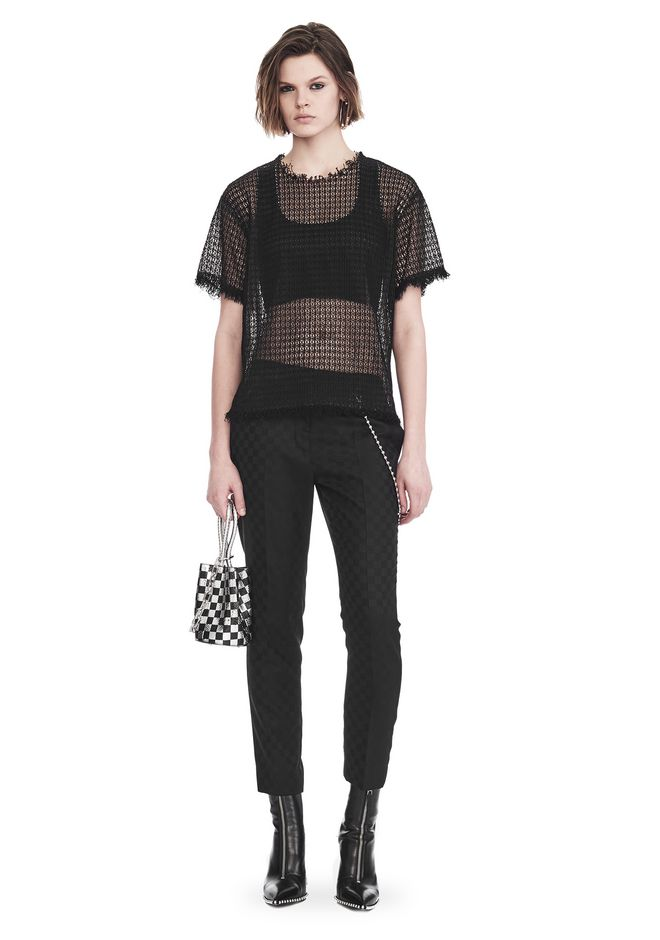 ALEXANDER WANG TOPS LACY T-SHIRT WITH RAW EDGES