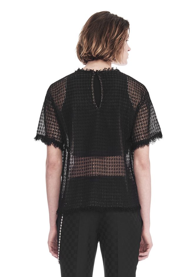ALEXANDER WANG LACY T-SHIRT WITH RAW EDGES 上衣 Adult 12_n_d