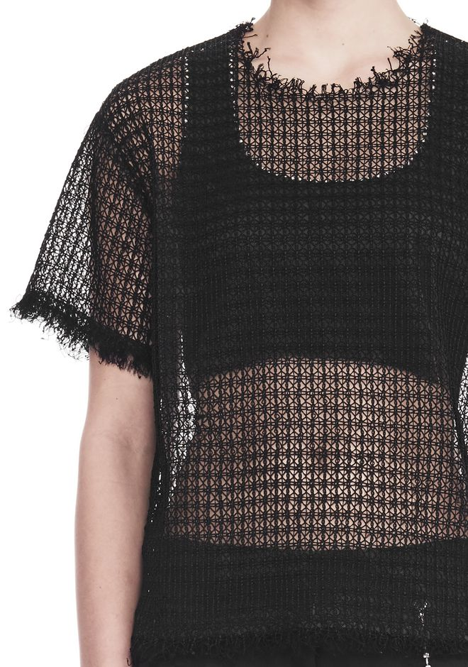 ALEXANDER WANG LACY T-SHIRT WITH RAW EDGES 上衣 Adult 12_n_r