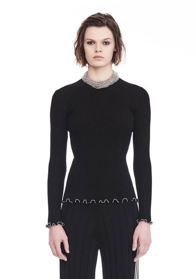 ALEXANDER WANG TOPS Women RIBBED PULLOVER WITH RUFFLED BALL CHAIN HEMS