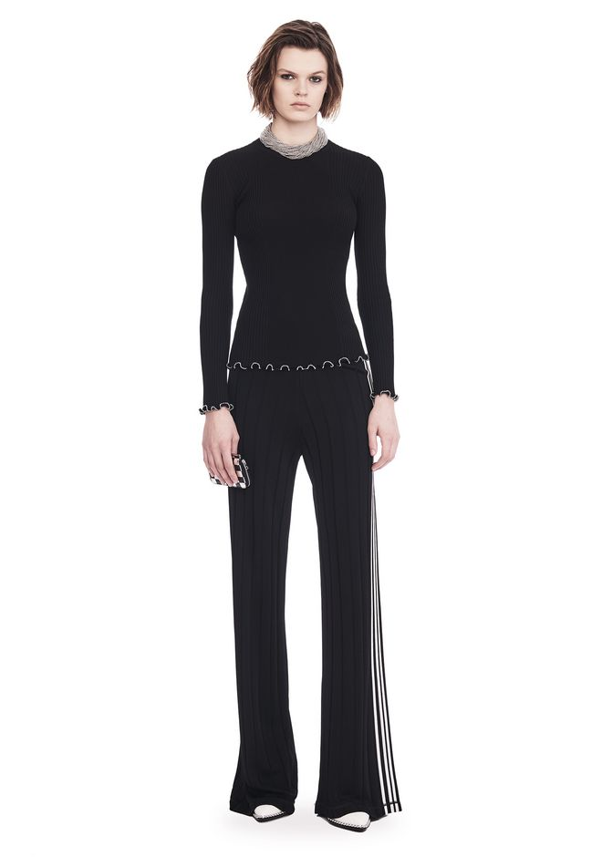 ALEXANDER WANG TOPS RIBBED PULLOVER WITH RUFFLED BALL CHAIN HEMS