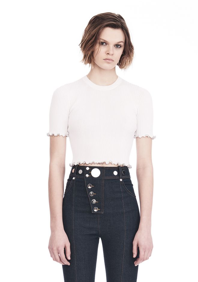 ALEXANDER WANG TOPS Women RIBBED CROPPED TEE WITH RUFFLED BALL CHAIN HEMS