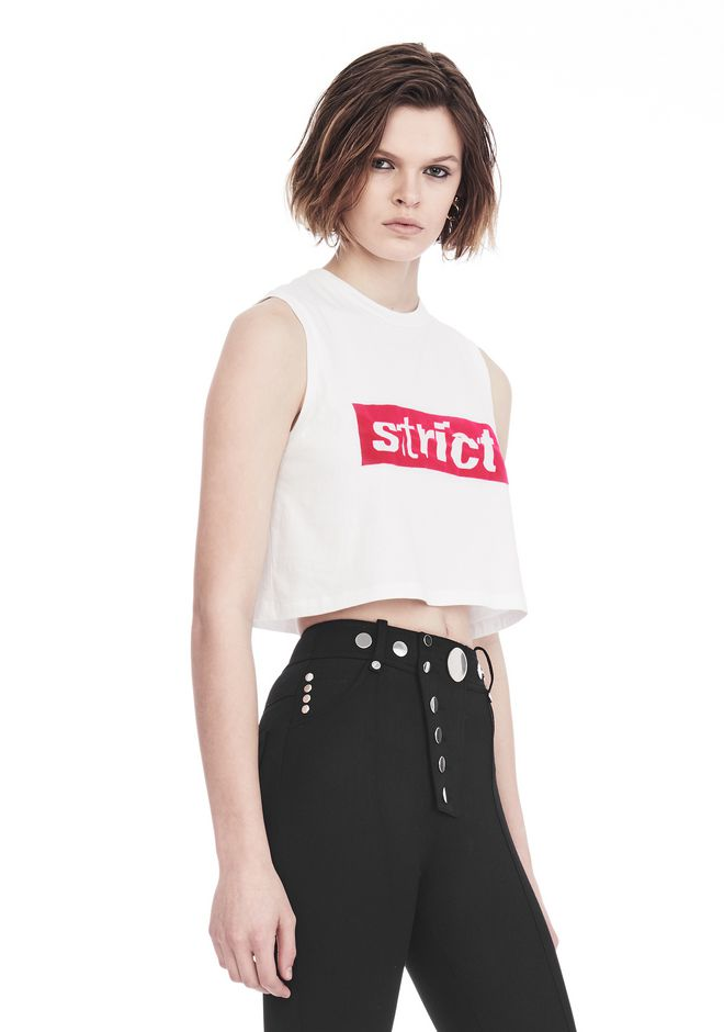 ALEXANDER WANG CREWNECK CROP TOP WITH STRICT PATCH 背心 Adult 12_n_a