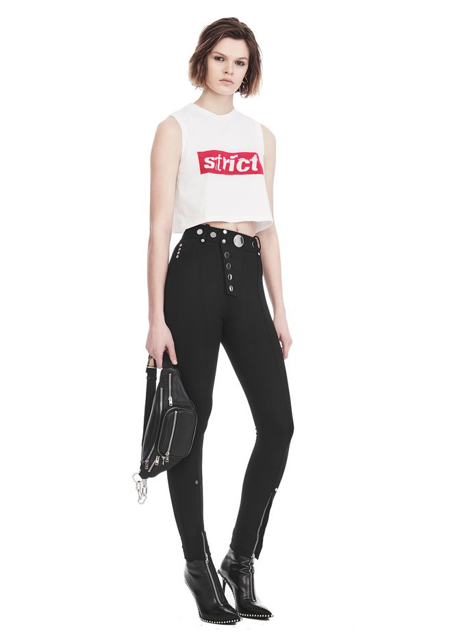 ALEXANDER WANG CREWNECK CROP TOP WITH STRICT PATCH 背心 Adult 12_n_f