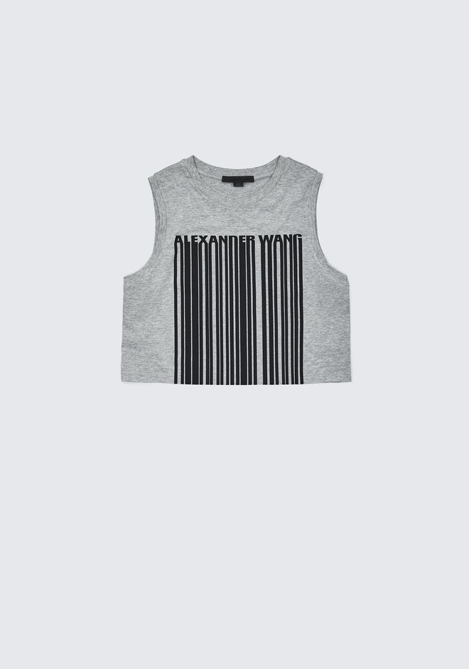 ALEXANDER WANG exclusives EXCLUSIVE CREWNECK CROP TOP WITH BONDED BARCODE