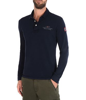 NAPAPIJRI ELBAS LONG SLEEVES MAN LONG SLEEVE POLO,DARK BLUE