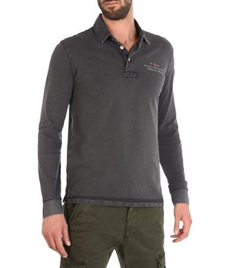 NAPAPIJRI ELBAS LONG SLEEVES MAN LONG SLEEVE POLO,STEEL GREY