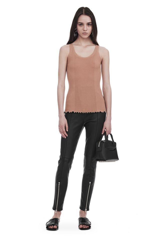 ALEXANDER WANG TOPS RIBBED TANK WITH RUFFLED BALL CHAIN HEM