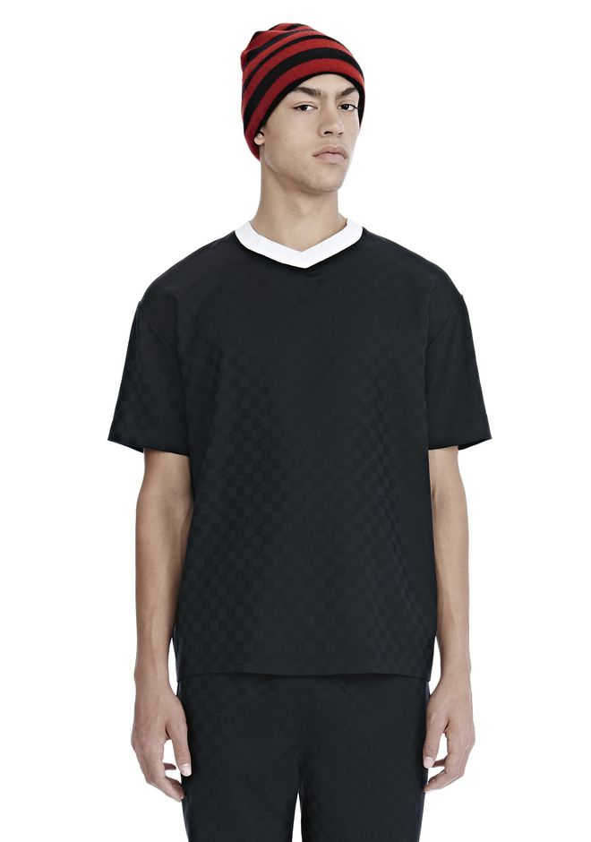 ALEXANDER WANG mens-new-apparel CHECKERBOARD WOOL JACQUARD SOCCER TEE