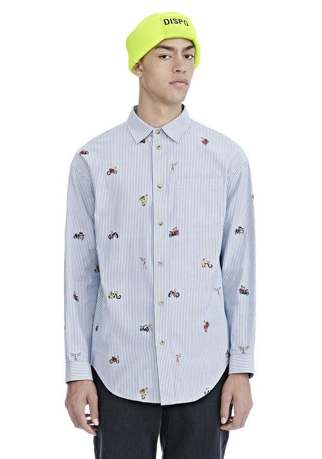 ALEXANDER WANG mens-new-apparel MOTO BABES JACQUARD PINSTRIPE SHIRT