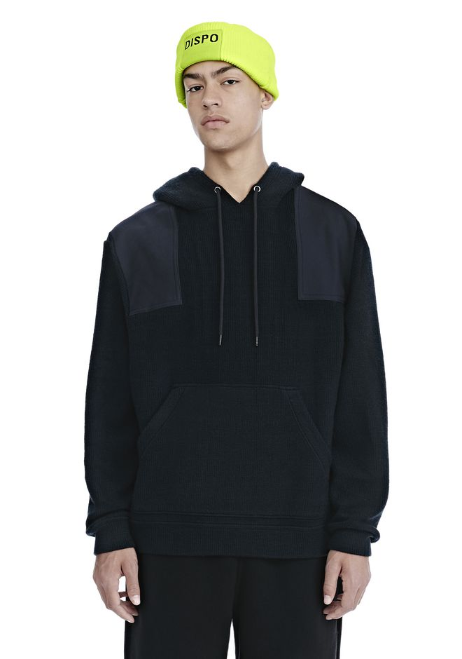 ALEXANDER WANG TOPS Men SURPLUS RIB TWILL COMBO PULLOVER HOODIE