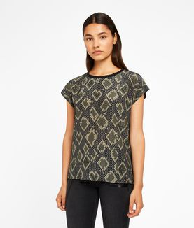 KARL LAGERFELD SNAKE PIXEL PRINT SILK MIX TOP