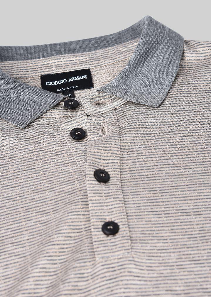 GIORGIO ARMANI ポロTシャツ シルクジャージージャカード製 ポロシャツ メンズ c
