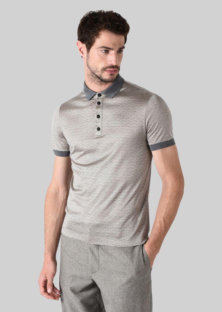 GIORGIO ARMANI ポロTシャツ シルクジャージージャカード製 ポロシャツ メンズ d