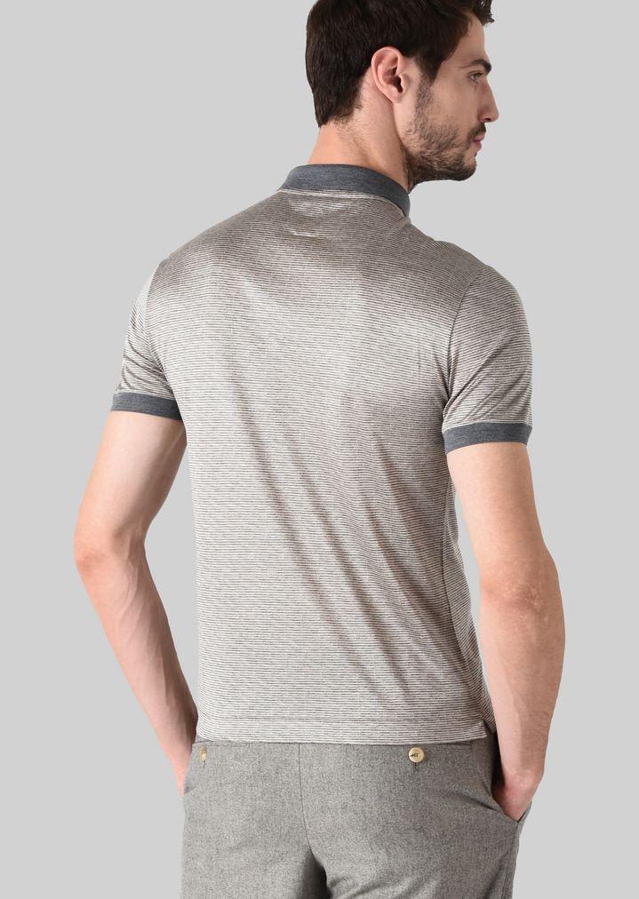 GIORGIO ARMANI ポロTシャツ シルクジャージージャカード製 ポロシャツ メンズ e