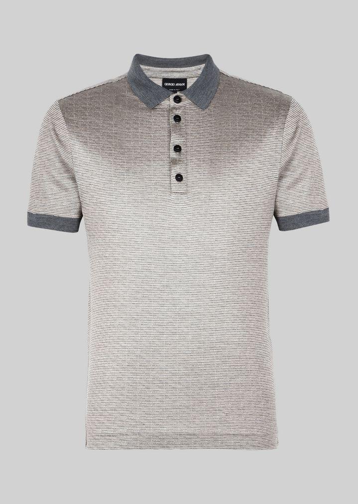 GIORGIO ARMANI ポロTシャツ シルクジャージージャカード製 ポロシャツ メンズ r