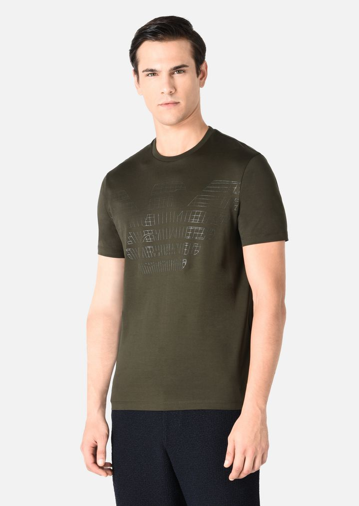 ... EMPORIO ARMANI COTTON JERSEY T-SHIRT WITH EAGLE LOGO PRINT T-Shirt Man  d ...