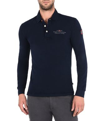 NAPAPIJRI ELBAS STRETCH LONG SLEEVES MAN LONG SLEEVE POLO,DARK BLUE