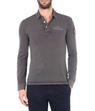 NAPAPIJRI ELBAS STRETCH LONG SLEEVES MAN LONG SLEEVE POLO,LEAD