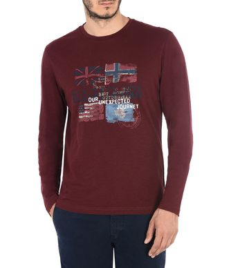 NAPAPIJRI SAJAMA MAN LONG SLEEVE T-SHIRT,MAROON