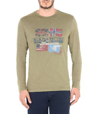 NAPAPIJRI SAJAMA MAN LONG SLEEVE T-SHIRT,MILITARY GREEN