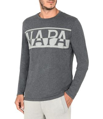 NAPAPIJRI SASLONG LONG SLEEVES MAN LONG SLEEVE T-SHIRT,LEAD