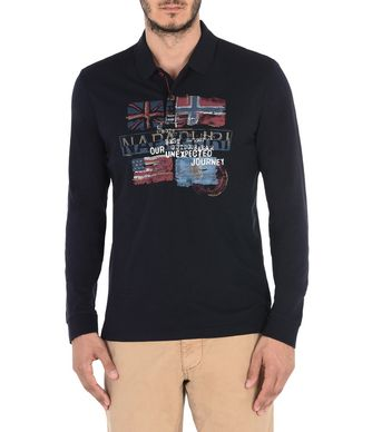 NAPAPIJRI EPERON MAN LONG SLEEVE POLO,DARK BLUE