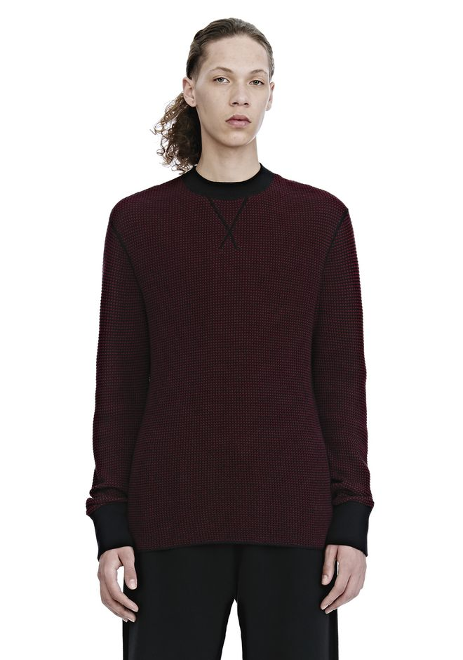ALEXANDER WANG TOPS Men WAFFLE STITCH LONG SLEEVE PULLOVER