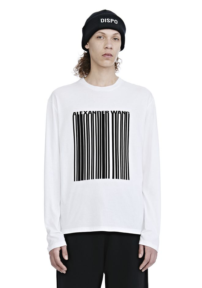 ALEXANDER WANG mens-new-apparel LONG SLEEVE BARCODE TEE
