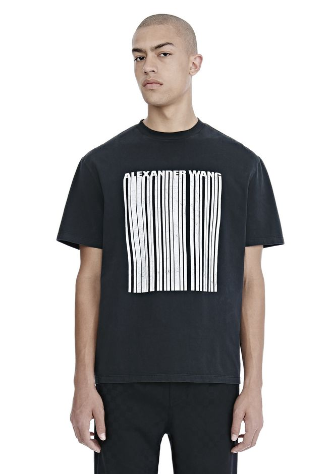 ALEXANDER WANG TOPS Men CRACKED BARCODE T-SHIRT
