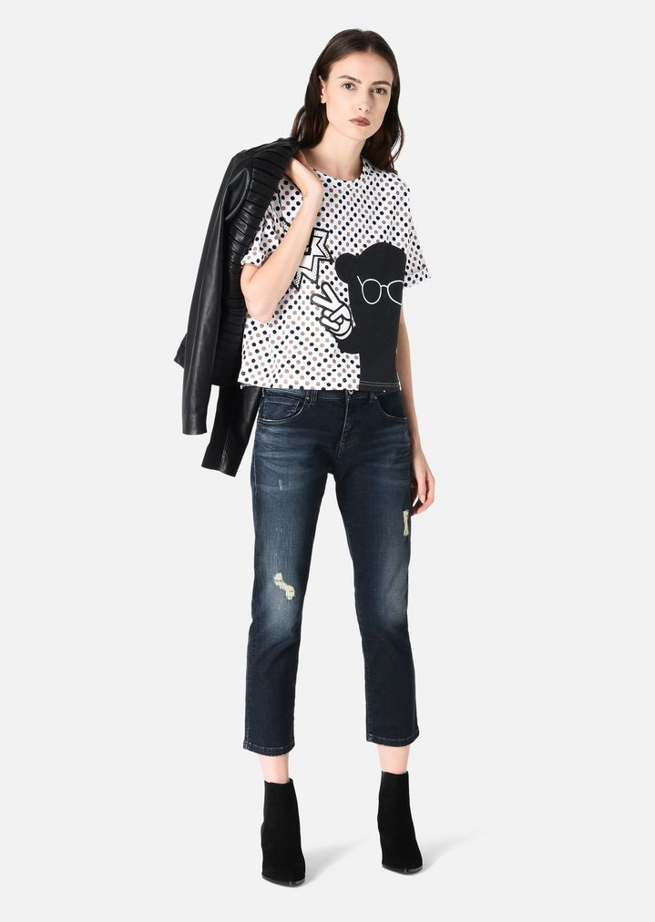 34dd860f4c STRETCH COTTON JERSEY T-SHIRT WITH POLKA DOTS AND PATCHES | Woman ...
