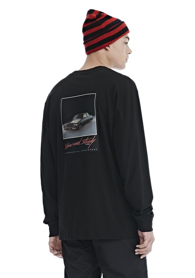 ALEXANDER WANG mens-new-apparel SLOW AND STEADY PATCH LONG SLEEVE TEE