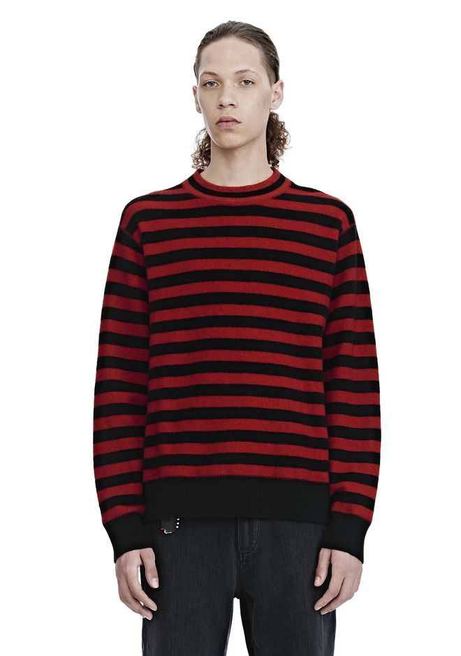 ALEXANDER WANG TOPS Men LONG SLEEVE STRIPED PULLOVER