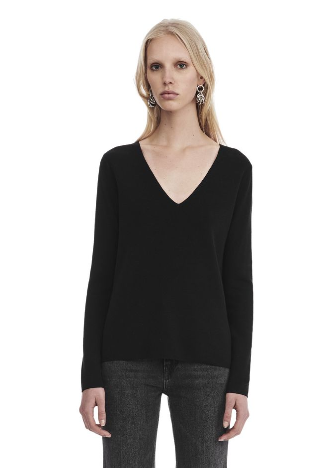 T by ALEXANDER WANG TOPS LONG SLEEVE V-NECK SWEATER