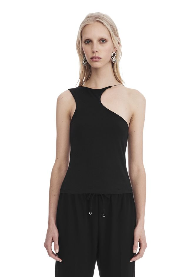 T by ALEXANDER WANG TOPS Women STRETCH JERSEY ASYMMETRICAL CUTOUT TANK