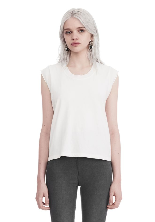 T by ALEXANDER WANG new-arrivals-t-by-alexander-wang-woman HIGH TWIST JERSEY MUSCLE TEE