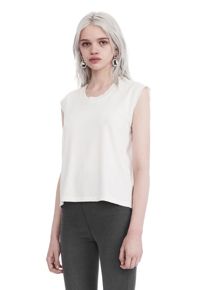 T by ALEXANDER WANG HIGH TWIST JERSEY MUSCLE TEE  上衣 Adult 12_n_a