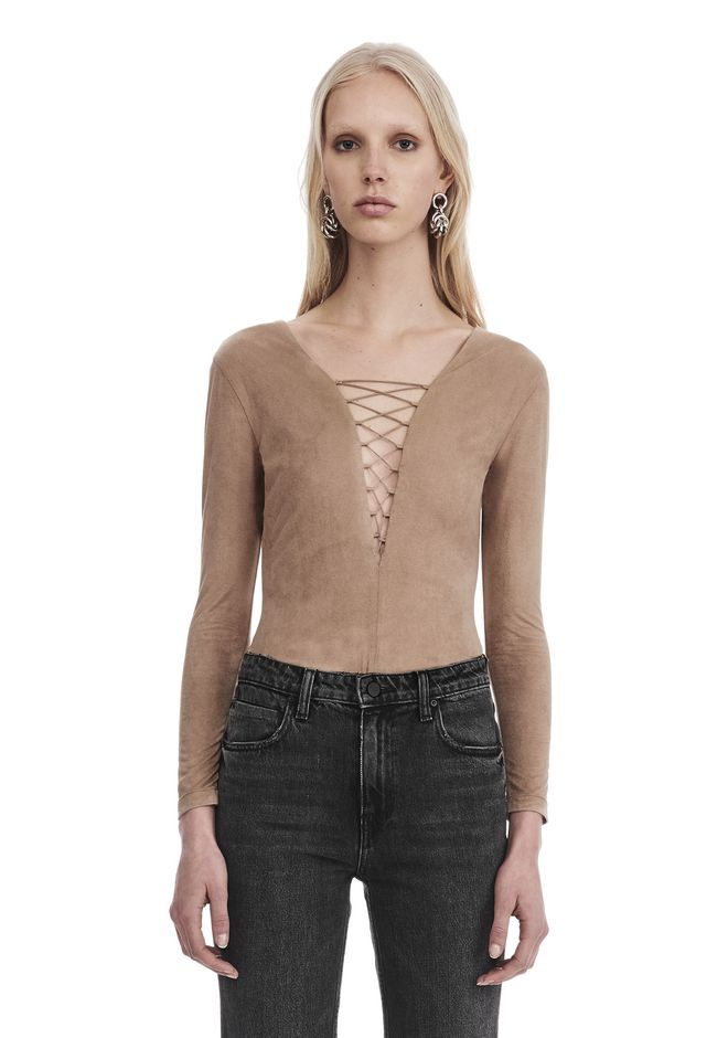 T by ALEXANDER WANG new-arrivals-t-by-alexander-wang-woman STRETCH FAUX SUEDE LONG SLEEVE LACE-UP BODYSUIT