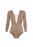 T by ALEXANDER WANG STRETCH FAUX SUEDE LONG SLEEVE LACE-UP BODYSUIT 上衣 Adult 8_n_d