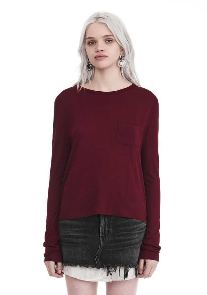 T by ALEXANDER WANG TOPS Women CLASSIC CROPPED LONG SLEEVE TEE