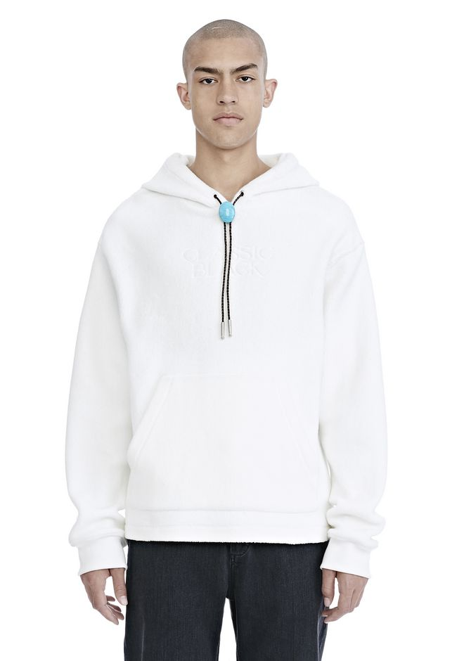 ALEXANDER WANG mens-new-apparel CLASSIC BLACK FLEECE HOODIE WITH BOLO TIE