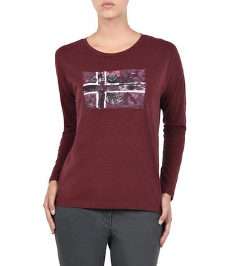 NAPAPIJRI SHAL WOMAN LONG SLEEVE T-SHIRT,MAROON