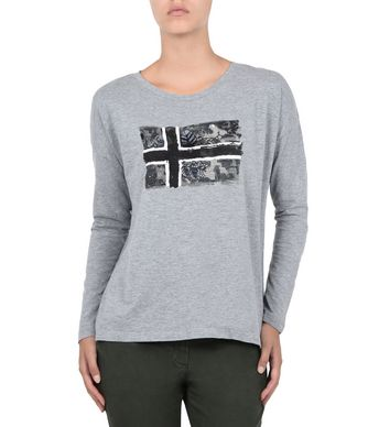 NAPAPIJRI SHAL WOMAN LONG SLEEVE T-SHIRT,LIGHT GREY