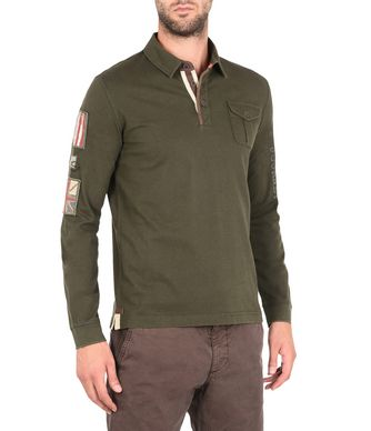 NAPAPIJRI EDWEN MAN LONG SLEEVE POLO,MILITARY GREEN