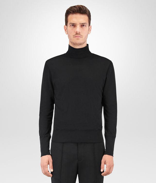 BOTTEGA VENETA NERO SILK COTTON JERSEY TURTLENECK Knitwear Man fp