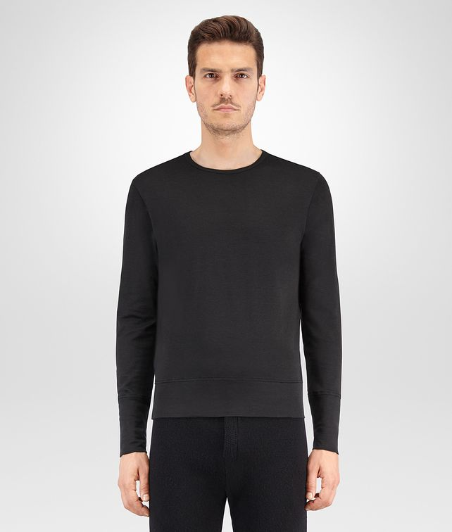 BOTTEGA VENETA NERO SILK COTTON JERSEY T SHIRT Polo And Tee U fp