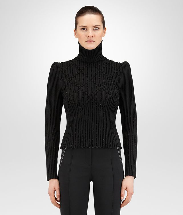 BOTTEGA VENETA NERO WOOL JACQUARD SWEATER Knitwear or Top or Shirt Woman fp