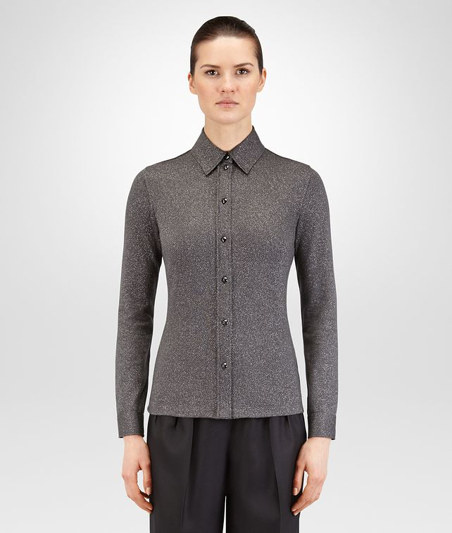 BOTTEGA VENETA DARK GREY WOOL PIQUET SHIRT Knitwear or Top or Shirt Woman fp