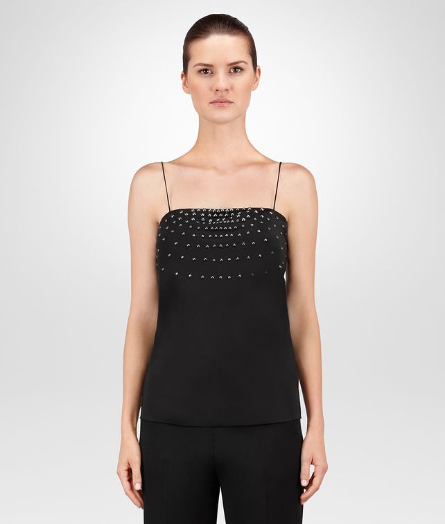 BOTTEGA VENETA NERO CRÊPE DE CHINE TOP Knitwear or Top or Shirt D fp